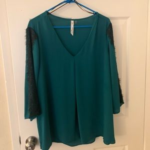 Perfect Lace Holiday Blouse - Teal